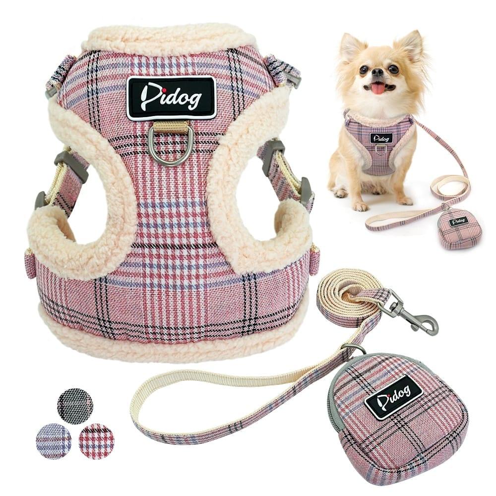 Dog Warm Plaid Vest with Leash