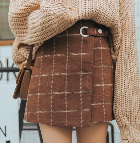Woolen Vintage Plaid Skirt