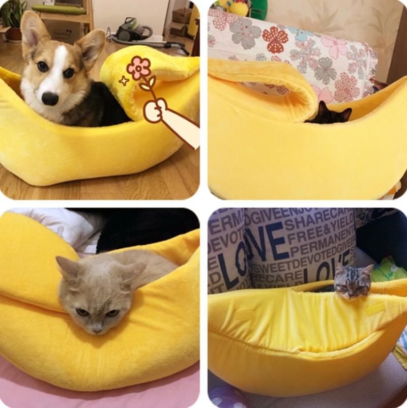 Cute Banana Cat Bed