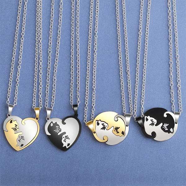 Couple Cat Heart Pendant Necklaces