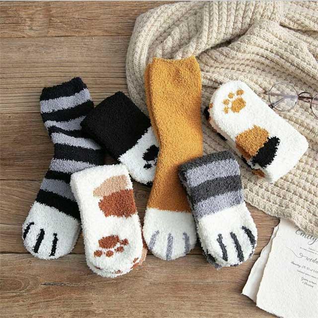Cute Cat Claw Plush Warm Socks